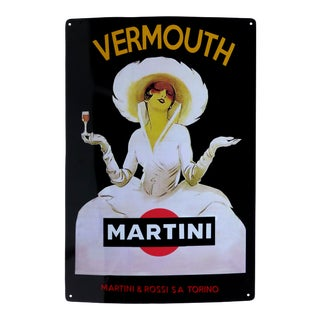 Vintage Martini & Rossi Vermouth Advertising Sign in Enamel on Metal For Sale