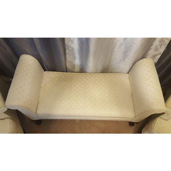 1990s Antique Mahogany Ball & Claw Wing Back Arm Chairs - Set of 3 For Sale In Orlando - Image 6 of 8