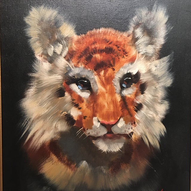 Gold Framed Tiger Cub Oil Painting - Image 5 of 8