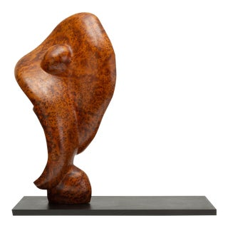 Mounted Abstract Sculpture in Bird's Eye Mahogany