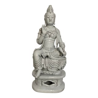 Early 20th Century Antique Blanc De Chine Sitting Kwan-Yin Statue For Sale