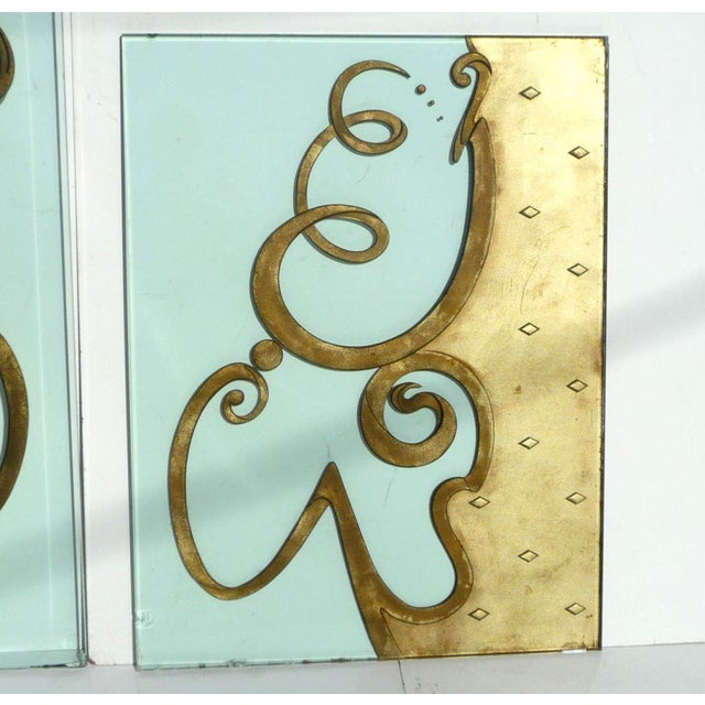 1940s Phenomenal Architectural Etched and Gilded Glass Panels For Sale - Image 5 of 11