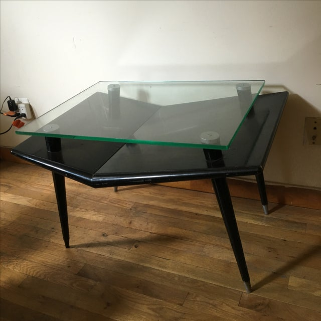 Mid-Century Modern Black Wood & Glass Side Table - Image 3 of 10