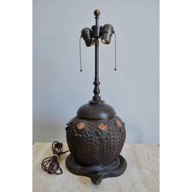 Heavy Tiffany Snake Basket Patinated Bronze Lamp With Custom Silk Shade For Sale - Image 9 of 12