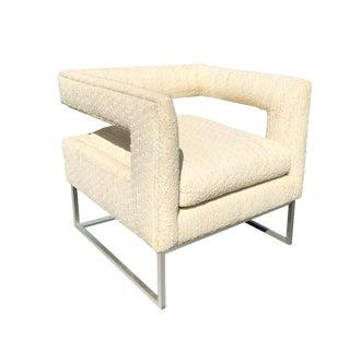 Mid Century Modern Milo Baughman Cut Out Cube Club Chair For Sale