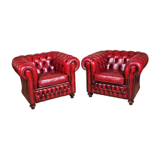 English Leather Club Chairs - a Pair For Sale - Image 9 of 9