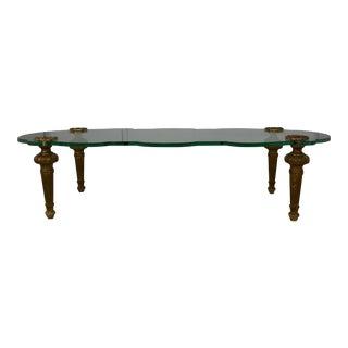 Italian Glass Top Coffee Table For Sale