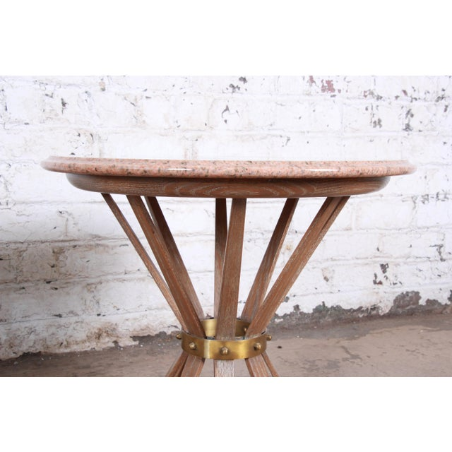 Gold Edward Wormey for Dunbar Style Sheaf of Wheat Marble Top Side Table For Sale - Image 8 of 11