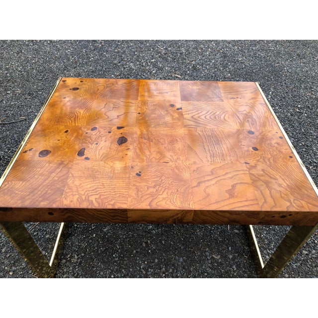 1970s Mid-Century Modern Olive Wood and Brass End Tables - a Pair For Sale - Image 9 of 13