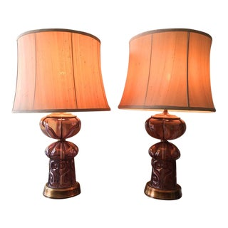 Vintage Ferro Lazzarini Murano Lamps - A Pair