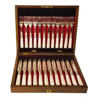 Antique Hand Chased Fish Fork and Knife Set - 12 Piece Set For Sale