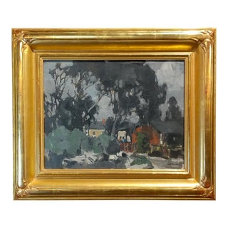 George Kennedy Brandriff -Houses in Eucalyptus Landscape- California Impressionist-Oil Painting For Sale