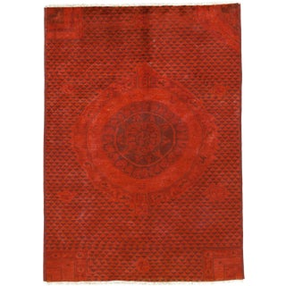 "Hand Knotted Moroccan Contemporary Red Wool Area Rug - 6' 1"" X 8' 5"""