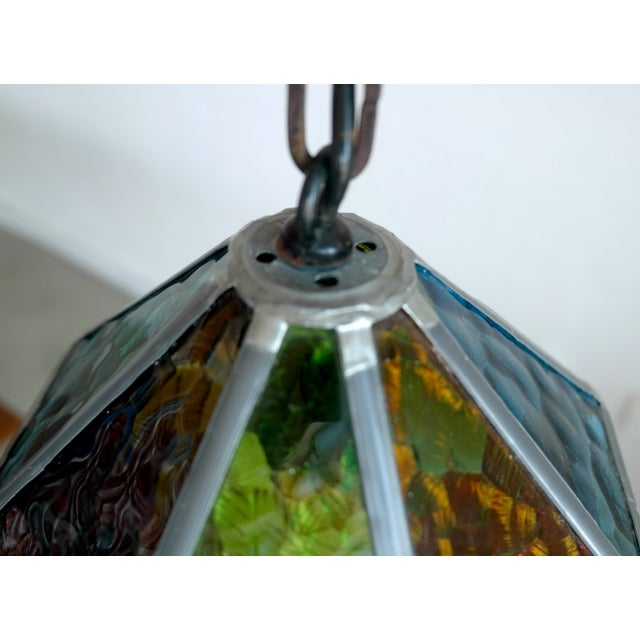 Danish Cast Iron & Multicolor Glass Pendants- Pair - Image 5 of 7