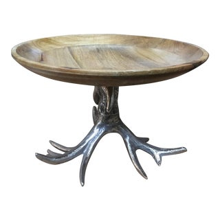 Oak Cake Stand With Silver Antler Base For Sale