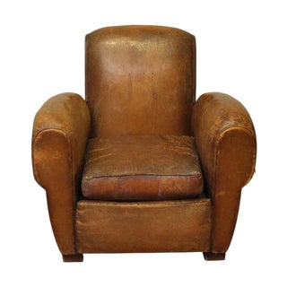 Imported Vintage Brown Leather Club Chair