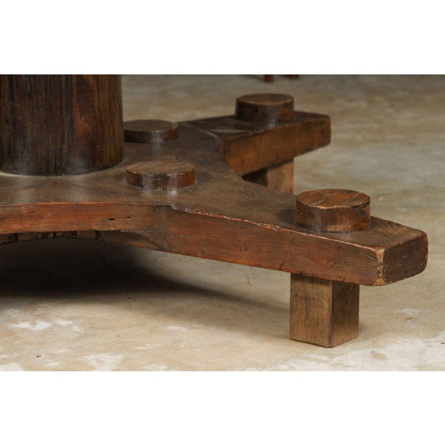 1900 - 1909 Round Glass Top Coffee Table Made From English Ship Port Part With Metal Base For Sale - Image 5 of 10