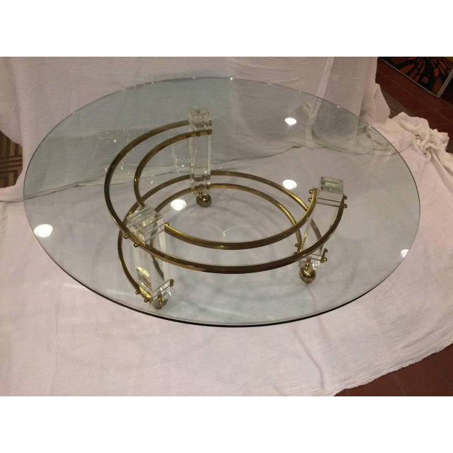 Charles Hollis Jones Hollywood Regency Lucite & Brass Coffee Table For Sale - Image 9 of 10