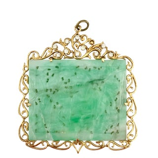 Large Carved Jadeite 14k Gold and Diamond Pendant For Sale