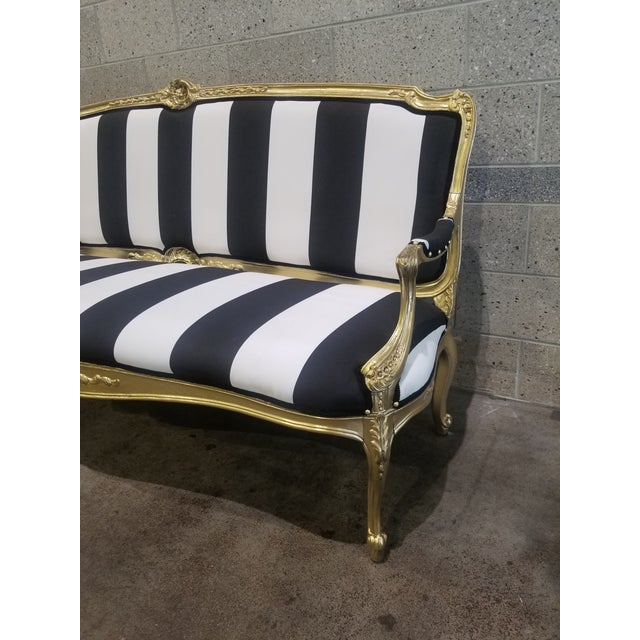 1950s Vintage Victorian Black and White Striped Sofa For Sale - Image 10 of 11