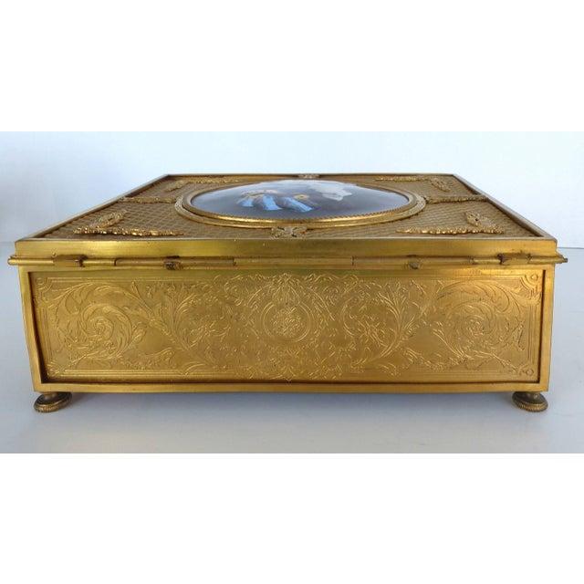 Metal 19th Century European Gilt Bronze Dresser Box With Enamel Plaque For Sale - Image 7 of 9