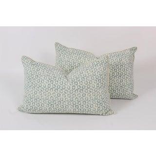 Seafoam Linen Ogee Blocked Lumbar Pillows, a Pair Preview