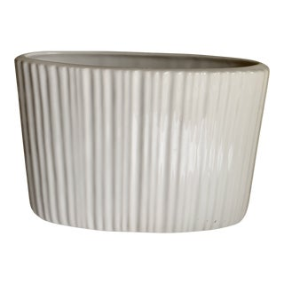 Classic White Elongated Ribbed Vase Vessel For Sale