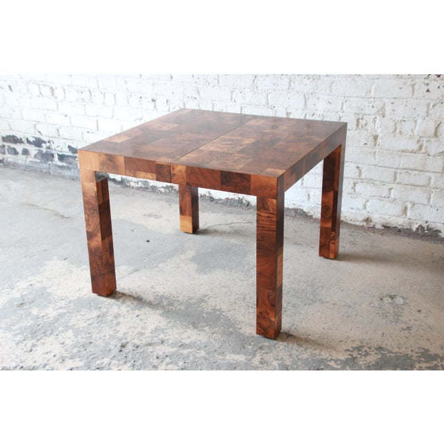 Paul Evans for Directional Patchwork Burl Wood Parsons Extension Dining Table For Sale - Image 9 of 13