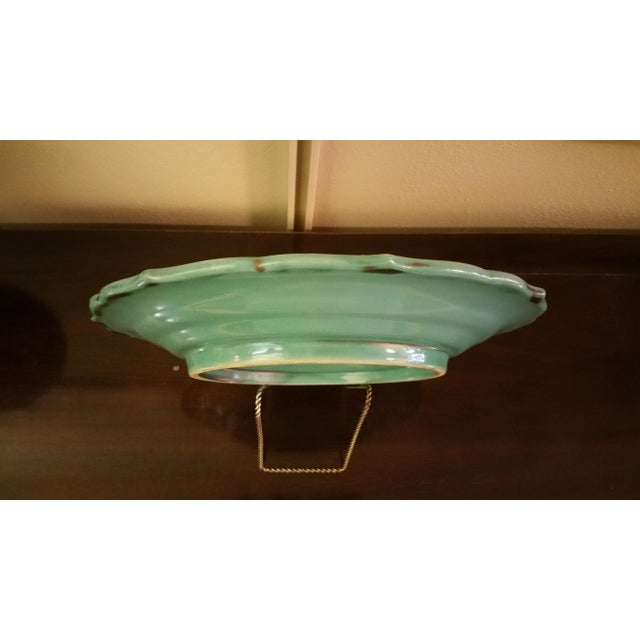 1930s Swedish Art Deco Turquoise Serving Plate For Sale - Image 5 of 6