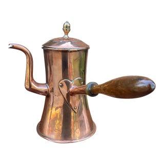 Antique English Copper Tea Kettle Pitcher Hand-Seamed Wood Handle Pour Spout For Sale