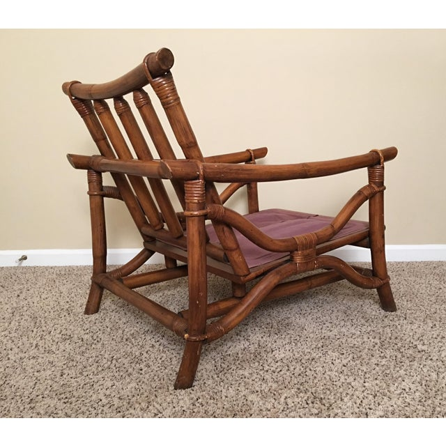 Mid Century Modern Rattan Lounge Chair & Ottoman For Sale - Image 10 of 13