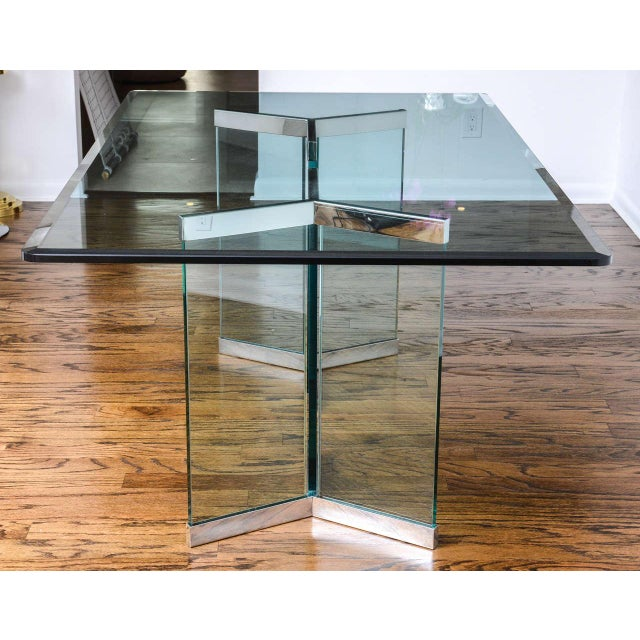 1970s Leon Rosen for Pace Collection Chrome & Glass Rectangular Dining Table For Sale In West Palm - Image 6 of 10
