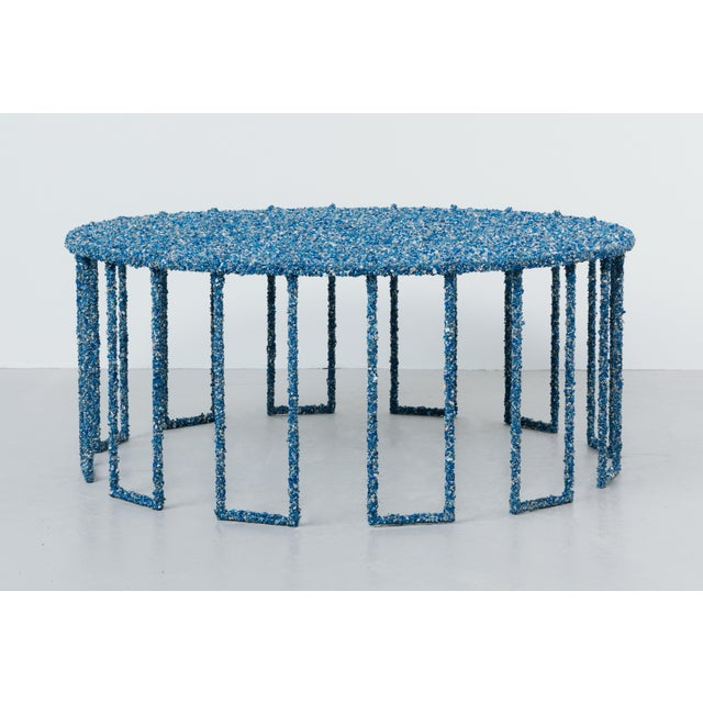 Stone Hand Made Crushed Lapis Lazuli Coffee Table, by Samuel Amoia For Sale - Image 7 of 7
