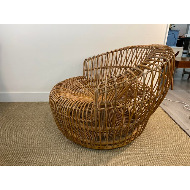 1960s Original Franco Albini Wicker Rattan Chair and Ottoman - a Pair For Sale - Image 5 of 13