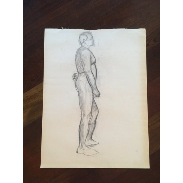 Vintage Large Mid-Century / Realism Nude Anatomy Figure Drawing For Sale - Image 6 of 6