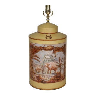 Vintage English Export Hand Painted Tea Caddy Lamp Elephants With Building For Sale