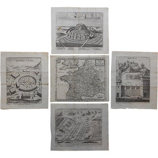 Antique French Maps/Plans Engravings - Set of 5