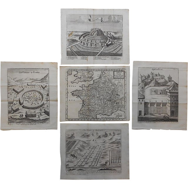Antique French Maps/Plans Engravings - Set of 5 For Sale