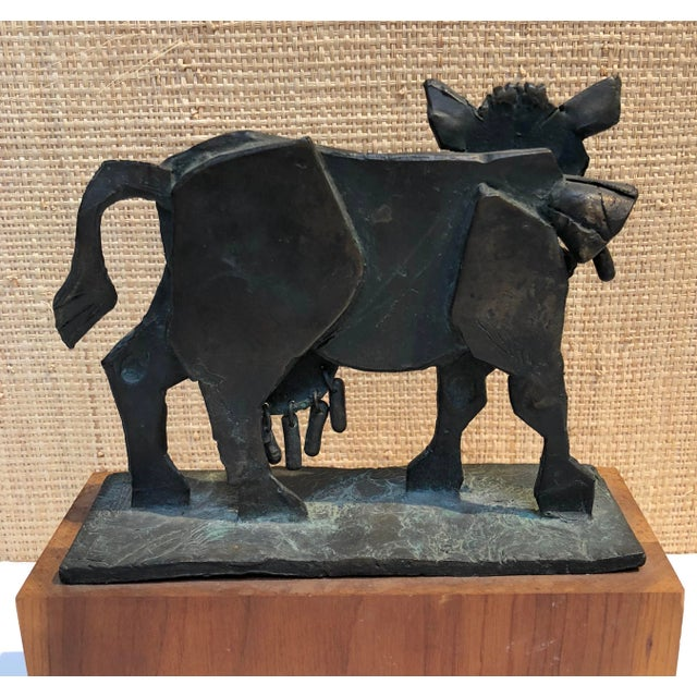 1960s Figurative Bronze Kinetic Sculpture of a Cow by James Pearson For Sale - Image 4 of 7