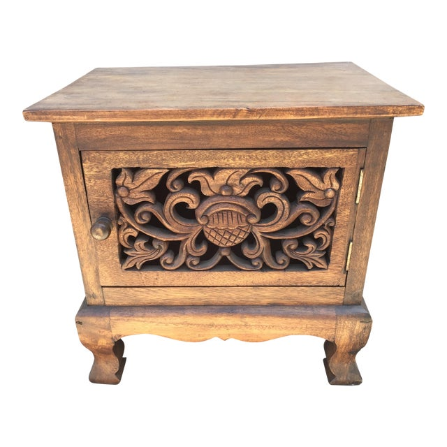 Asian Hand Carved Wooden Cabinet For Sale
