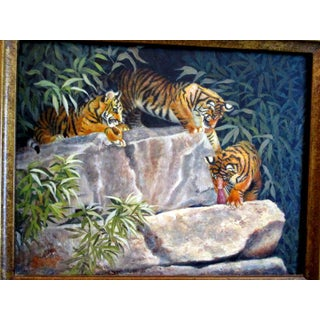 Beverly Abbott Florida Artist Fine Vintage Oil Painting of Tigers Preview