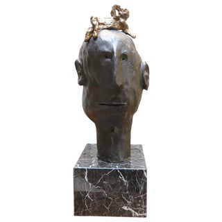 Ismael Bronze Sculpture by Danny First With Marble For Sale
