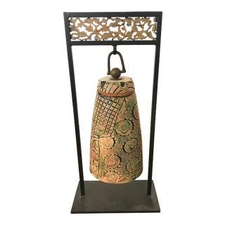 Unique Tony Evans Ceramic Bell on Iron Stand