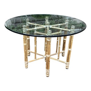 1970s McGuire Bamboo Rattan Breakfast Table For Sale