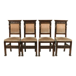 1890s Baronial Italian Renaissance-Style Chairs, S/4 For Sale