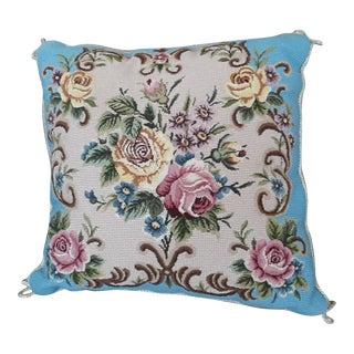 1990s Vintage Katha Diddel Needlepoint Roses Pillow For Sale