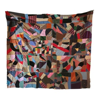 Antique American Crazy Quilt, Patchwork of Geometric Colors For Sale