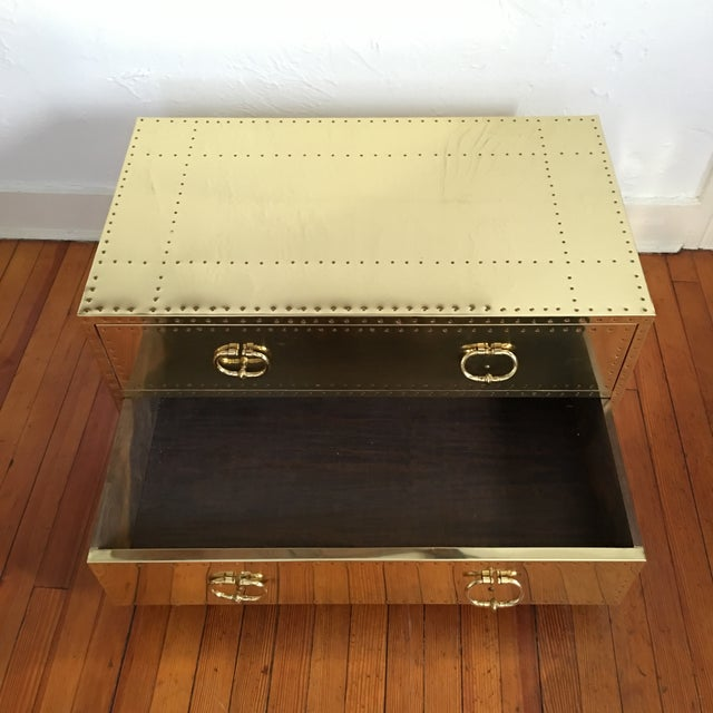 Brass Sarreid LTD Brass 2 Drawer Trunk or Coffee Table For Sale - Image 7 of 11