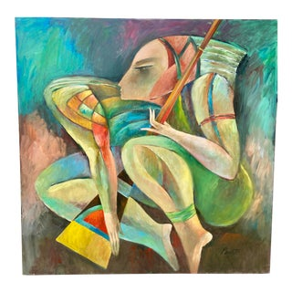 Modern Cubist Woman Musician Slave Odalisque Signed Sammy Pasto Oil For Sale