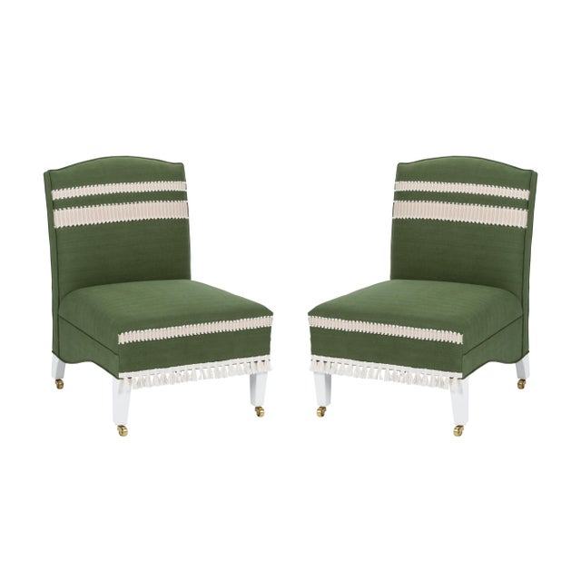 Casa Cosima Sintra Chair in Verdure Linen, a Pair For Sale - Image 9 of 9